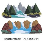 waterfalls set. cartoon... | Shutterstock .eps vector #714555844