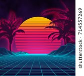 retro background futuristic... | Shutterstock .eps vector #714557269