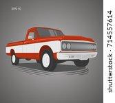 vintage pickup truck vector...   Shutterstock .eps vector #714557614