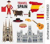 travel to spain. a set of... | Shutterstock .eps vector #714558820