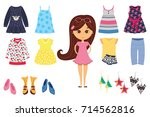 flat isolated baby girl fashion ... | Shutterstock .eps vector #714562816
