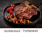 grilled porterhouse steak...   Shutterstock . vector #714564634