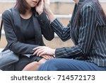 business women serious and... | Shutterstock . vector #714572173