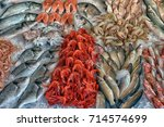 fish  shrimp and other seafood... | Shutterstock . vector #714574699