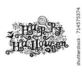 happy halloween. lettering.... | Shutterstock .eps vector #714575374