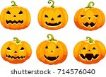 set pumpkins for halloween | Shutterstock .eps vector #714576040