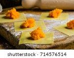 stuffed pumpkin for tortelloni  ... | Shutterstock . vector #714576514