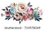 Stock photo dusk blue pale pink gray white watercolor floral landscape bouquet 714578269