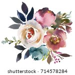 Stock photo dusk blue pale pink gray white watercolor floral round bouquet 714578284