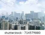 cityscapes of tokyo in fog... | Shutterstock . vector #714579880
