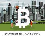 bitcoin concept vector... | Shutterstock .eps vector #714584443
