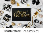 merry christmas card with black ...   Shutterstock . vector #714593974