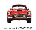 retro car drawing | Shutterstock . vector #714593980