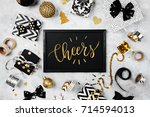 card with word cheers with... | Shutterstock . vector #714594013