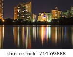 lights of a large city are... | Shutterstock . vector #714598888