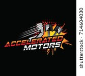 accelerated motor logo with... | Shutterstock .eps vector #714604030