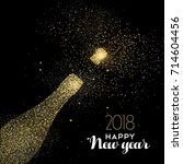 happy new year 2018 gold... | Shutterstock .eps vector #714604456