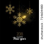 happy new year 2018 luxury gold ... | Shutterstock .eps vector #714604480