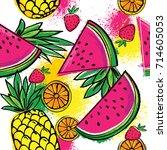 fashion tropics funny... | Shutterstock .eps vector #714605053