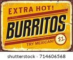 burritos vintage metal... | Shutterstock .eps vector #714606568