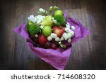 fruit bouquet of apple  lime ... | Shutterstock . vector #714608320