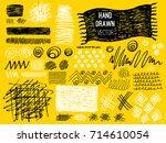 set stroke. brush  pen  marker  ... | Shutterstock .eps vector #714610054