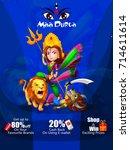 happy durga puja india holiday...   Shutterstock .eps vector #714611614