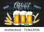 oktoberfest lettering  a glass...   Shutterstock .eps vector #714613936