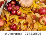 autumn background from yellow... | Shutterstock . vector #714615508