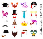 photo party mask set. birthday... | Shutterstock .eps vector #714616174