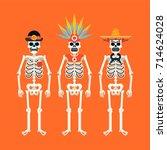 set of skeletons wearing... | Shutterstock .eps vector #714624028
