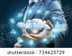 businessman showing a cloud... | Shutterstock . vector #714625729