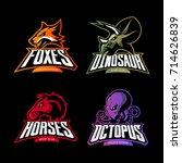 furious dinosaur  horse ... | Shutterstock .eps vector #714626839