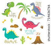 cute vector dinosaurs isolated... | Shutterstock .eps vector #714636766