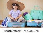 adorable toddler girl tourist... | Shutterstock . vector #714638278