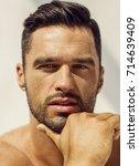face of handsome man | Shutterstock . vector #714639409