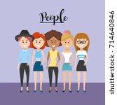 beauty women friend with style...   Shutterstock .eps vector #714640846