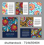 embroidery style flyer set with ... | Shutterstock .eps vector #714650404