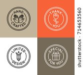 vector set of emblems  badges... | Shutterstock .eps vector #714653560