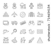 kids toys linear icons set.... | Shutterstock .eps vector #714654154