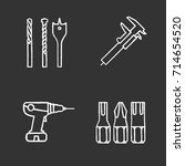 construction tools chalk icons...