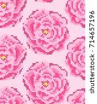 cross stitch roses seamless... | Shutterstock .eps vector #714657196
