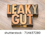 Small photo of Leaky gut word abstract in vintage letterpress wood type printing blocks