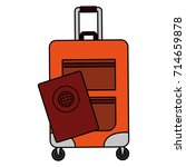 travel suitcase with passport | Shutterstock .eps vector #714659878
