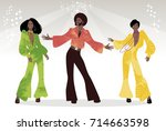soul party time. group of man... | Shutterstock .eps vector #714663598