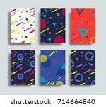 colorful geometric shapes in... | Shutterstock .eps vector #714664840