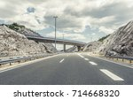 bridge over a highway on a... | Shutterstock . vector #714668320