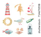 cartoon vector nautical... | Shutterstock .eps vector #714670558