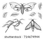 tattoo or boho t shirt or... | Shutterstock .eps vector #714674944