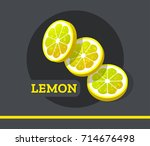 lemon slice fruit vector set... | Shutterstock .eps vector #714676498